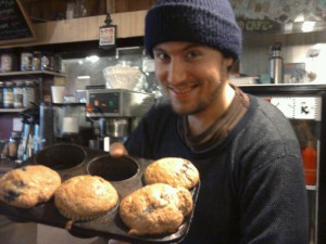 Blueberry muffins fresh from the oven